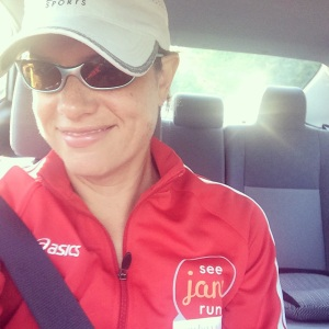Snagged this one on the way to race! Check out my snazzy red See Jane Run Ambassador jacket!